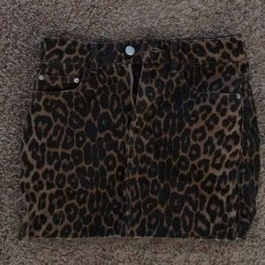 Leopard print denim mini skirt